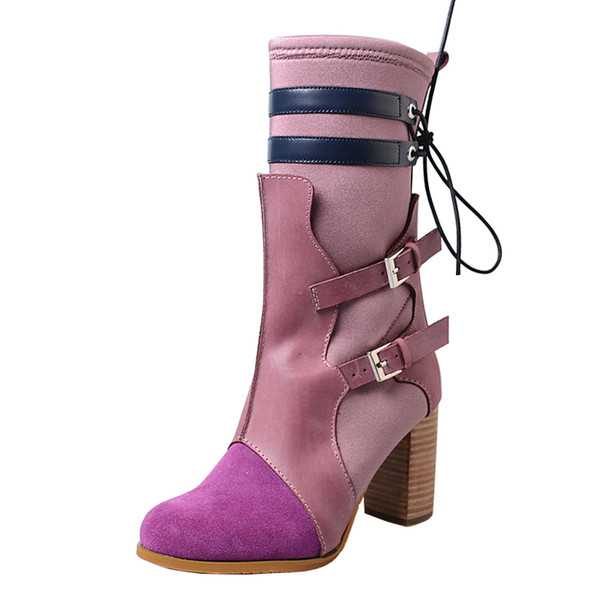 fashion mixed color women high boots stretch fabric slim fit knight boots round toe chunky high heel shoes women botas handmade