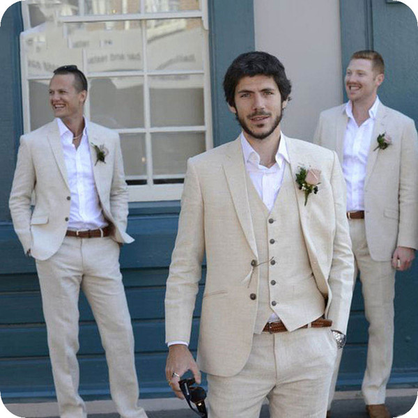 Latest Coat Pant Designs Ivory Beige Beach Linen Men Suits for Wedding Suit Bestmen Summer Marriage Groom Tuxedo 3 Piece(Jacket+Pant+Vest)