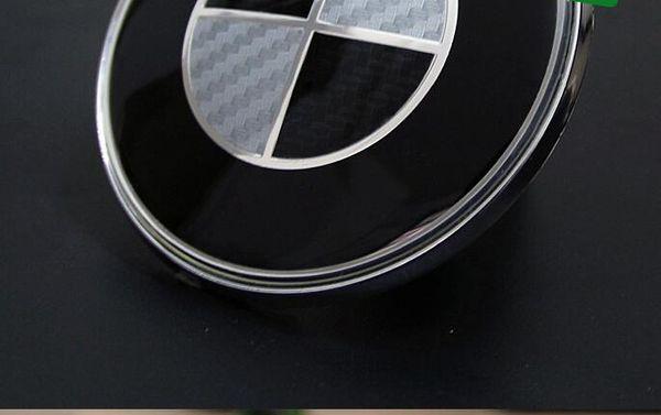 2pcs para BMW etiqueta carbono fibra tampa emblema 82 milímetros + 74 milímetros LOGO Conjunto Completo whiteblack traseira frente