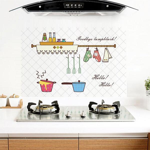 Compre Pvc Prueba De Aceite Cocina Azulejos Etiqueta De Dibujos Animados Herramientas De Cocina Decoración De La Pared Pegatinas Autoadhesivas