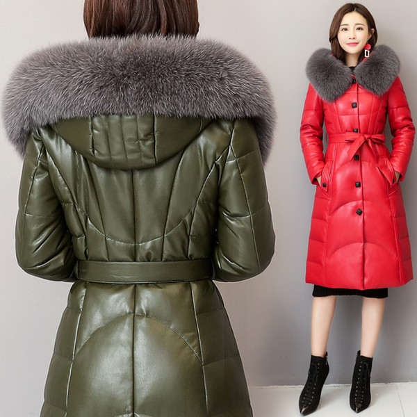 Korean version of leather down jacket female long style haining sheep fur fur coat  hooded coat 2019 new style winter