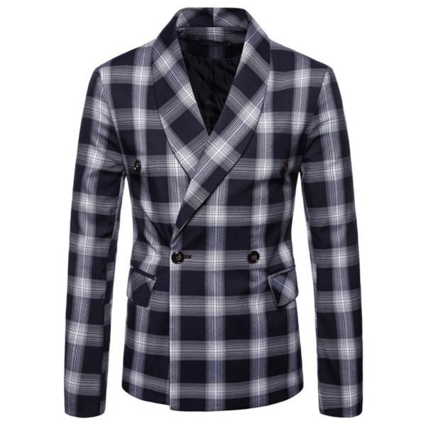 Klassische zweireihiger Mans Blazer 2018 New Vogue Men Plaid und gestreiftes Schwarz gedruckt Mantel Smart Casual Blazer für Mann 4XL