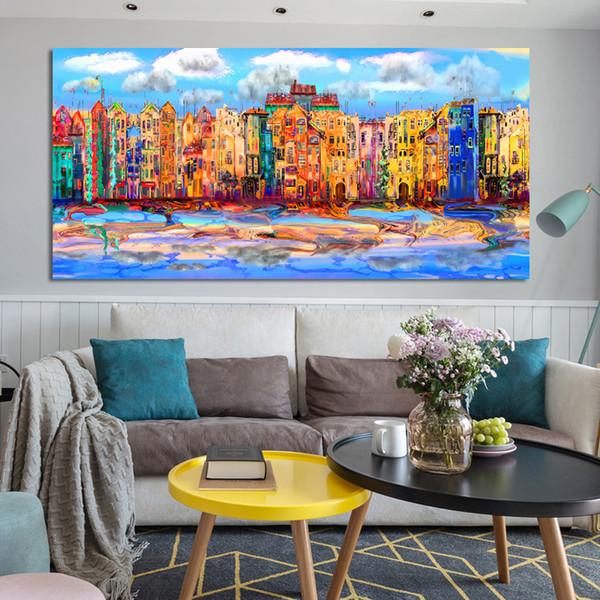 1 Pcs Arte Moderna Cartazes e Impressões Pintura Da Lona de Arte Da Parede Abstrata Aquarela Edifícios Pinturas Decorativas para Sala de estar Sem Moldura