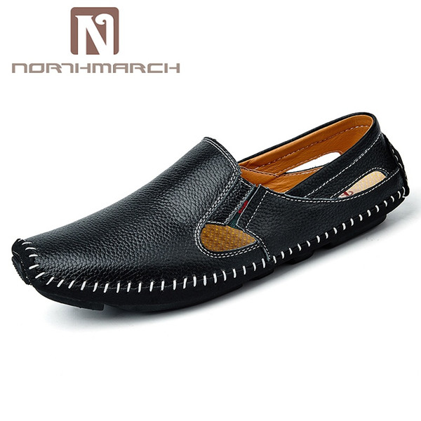 NORTHMARCH Fashion Brand Mens Shoes Genuine Leather Breathable Casual Shoes Men Handmade Driving Men Summer Mocassin Homme