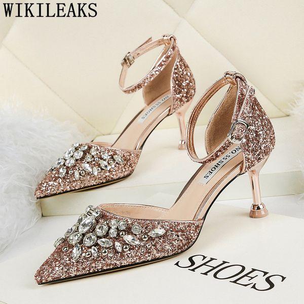 glitter heels crystal shoes rhinestone heels ladies pumps women shoes black high sexy wedding bride stiletto tacones