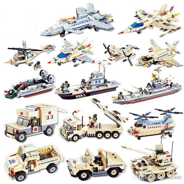 Les blocs de construction Modèle modèle militaire contre le terrorisme Minifigs Assemblez le réservoir de chasse diy jouets Cuirassé éducation à l'enfance