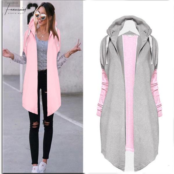 Kadınlar Sonbahar Moda Giyim Patchwork Casual Uzun Ceket Womens Hoody Ceket Uzun Hırkalar Bahar Dış Giyim Palto Kadın