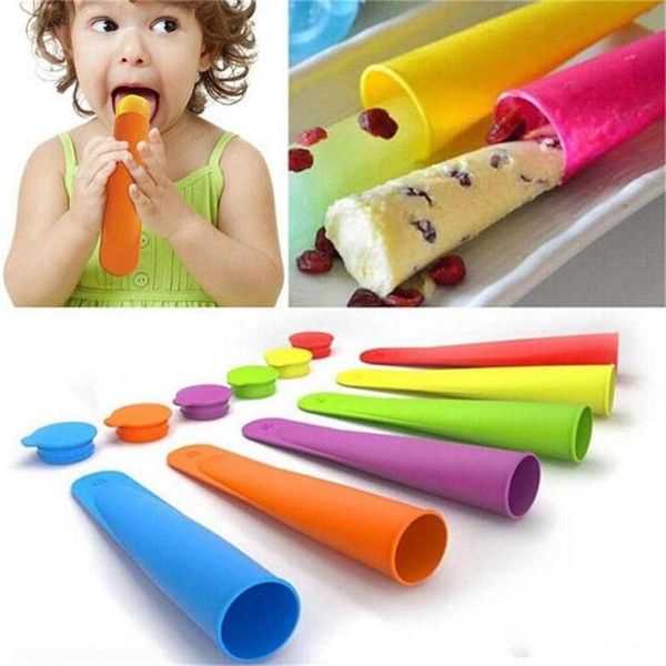 Colorful Silicone Ice Pop Mold Popsicles Mould with Lid DIY Ice Cream Makers Push Up Ice Cream Jelly Lolly Pop For Popsicle ST048