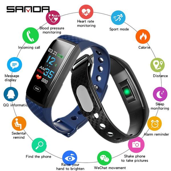 SANDA Monitor de Ritmo Cardíaco Bluetooth Reloj Inteligente Hombres Fitness Tracker Pulsera Smartwatch Deportes Podómetro Calorías Relojes de Pulsera