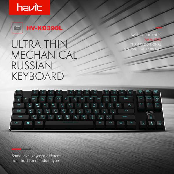 Tastiera HAVIT meccanica 87 tasti Ultra Low Axis Extra-Thin Mini Gaming Keyboard Blu Switche per PC / Laptop HV-KB390L (russo)