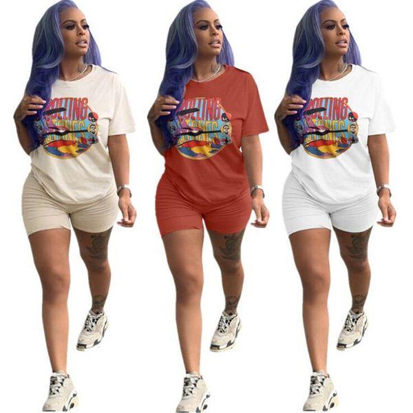 Yaz Kadın Moda Eşofmanlar Streetwear Kısa Kollu T-shirt + Şort 2 adet SET hiphop yuvarlanan taşlar mektup Kıyafet Spor A3232