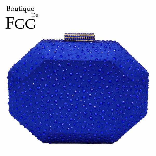 Boutique De FGG Octogone Forme Femmes Cristal Embrayage Soirée Sacs Étui Rigide De Luxe Sacs À Main Dames Métal Embrayages De Mariage Sac À Main # 744105
