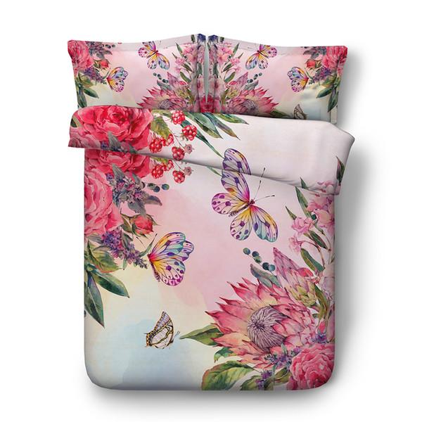 Pink Butterflies Floral Girls Duvet Cover Decorative 3 Piece Bedding Set With 2 Pillow Shams Flower Teen Girls Bedspread Coverlet Bed Cover