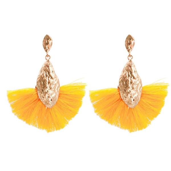 Bohemia Style Fan Shaped Tassel Earrings Dangle Ear Drop Jewelry Women Wedding Party Lover's Gift
