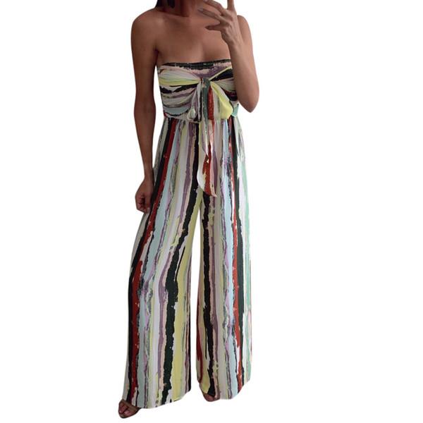 Monos Mujer 2019 Women Casual Bow Off Shoulder Multi-Color Strapless Wide Long Wide leg Jumpsuit Women Playsuit Streetwear