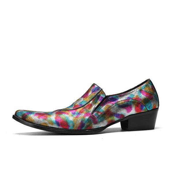 Lüks Moda Sivri Burun Erkekler Resmi Ayakkabı Iş Ofis Düğün Erkekler Için Hakiki Deri Renkli Oxford Ayakkabı Elbise Ayakkabı