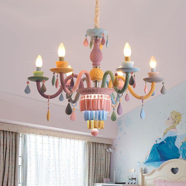 Nordic Living Room Dining Room Crystal Light Color Crystal Chandelier  Lighting Children Bedroom Lamp American Hotel Decoration Light Fixture  Multi ...