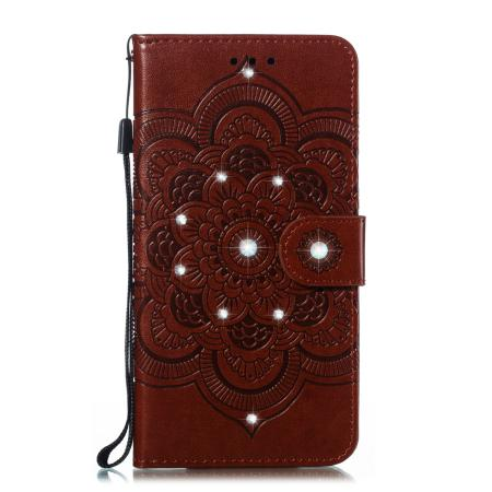 Wholesale multi-function sun mandala embossed point drill drop-proof can support with credit card slot pocket for iphone 6.1PU case