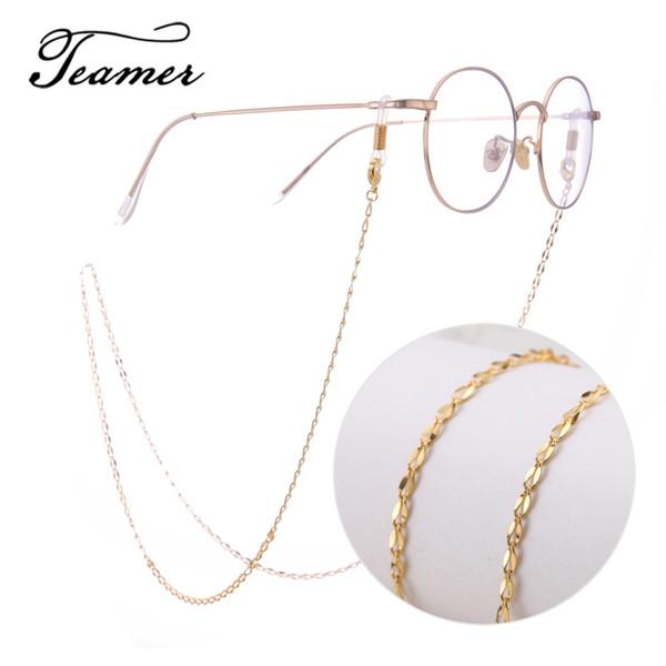 Catena per occhiali in metallo rosa oro Teamer per donna Moda Charms per occhiali Occhiali da sole Cinturino con cordino per uomo Occhiali da vista Catena da collo