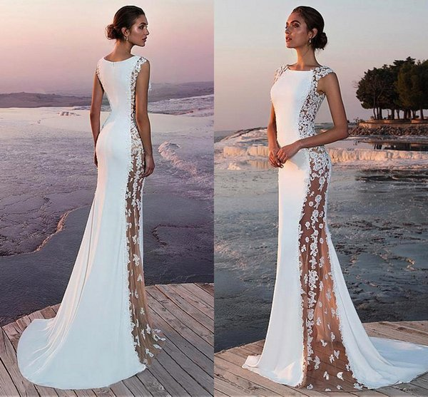 2019 Elegant Satin Lace Mermaid Wedding Dresses Sexy See Through Lace Tulle Beach Summer Long Sweep Train Wedding Bridal Gowns