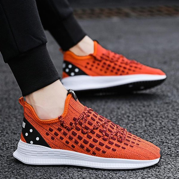 Hommes Respirant Mesh Chaussures Fashion Lace Up High Top Marche Baskets Plates Chaussures