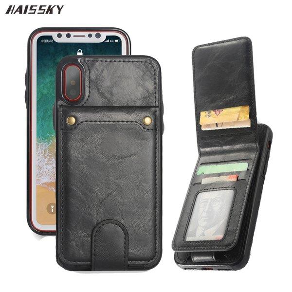 Étui en cuir à rabat vertical pour iPhone XS Max XS X 6 6s 7 8 Plus rétro housse pour iPhone 8 Plus titulaire de la carte portefeuille 2 en 1 pochette