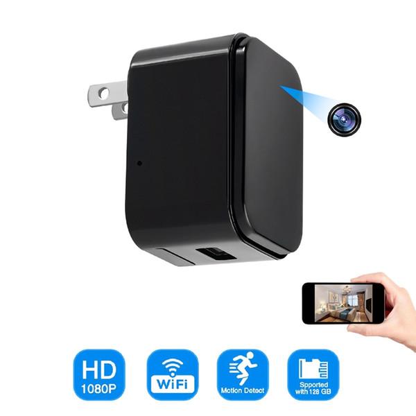 Sin agujero Cargador WIFI Cámara Full HD 1080p Cargador USB Cámara Detección de movimiento Toma de pared Mini cámara Seguridad para el hogar / oficina Cámara de vigilancia
