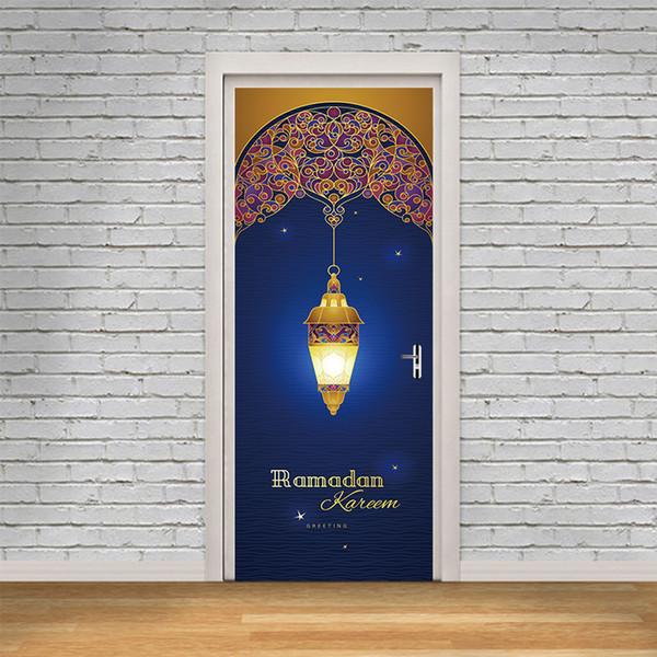 2 Pcs / Ensemble Mousseline Ramadan Kareem Porte Autocollants Islamique Sticker Mural Chambre Salon Décor Papier Peint Affiche PVC Étanche Decal