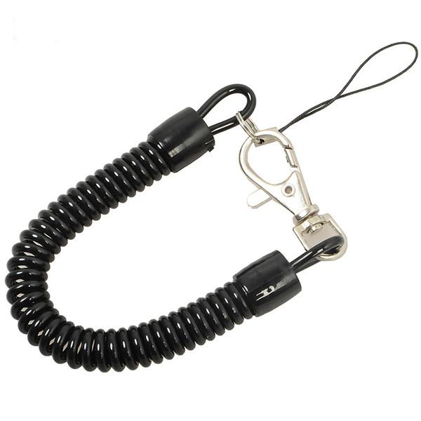 Mola de Plástico retrátil Elastic Corda de Segurança Ferramenta de Engrenagem Airsoft Caminhadas Ao Ar Livre Camping Anti-lost Telefone Chaveiro Kit