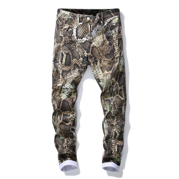Nueva marca de moda para hombre de color delgado con dibujo estampado de flores jeans Hombre piel de serpiente pintado pantalones de mezclilla pantalones True Men Robin Rock Revival Jean