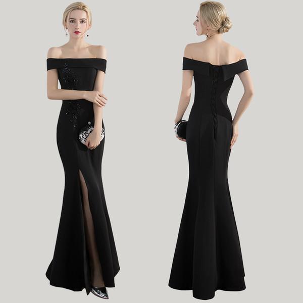 Compre 2019 Moda Sexy Fuera Del Hombro Sirena Vestido De Fiesta Negro Largo Con Encaje Hasta El Suelo Longitud Lateral Dividida Vestido De Fiesta Por