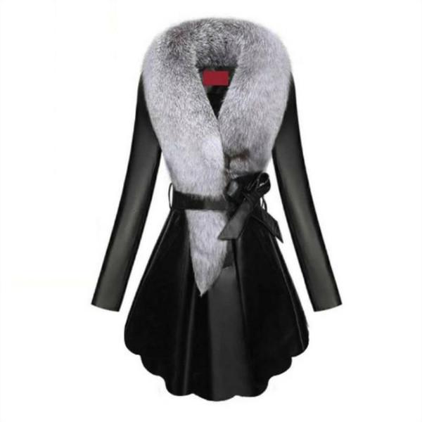 Sahte Kürk Kadınlar Kış Kadın Koyun postu Coats Saf Renk Sahte Fox Kürk Yakalar çıtçıt Kürkler Artı boyutu D190806 T191031