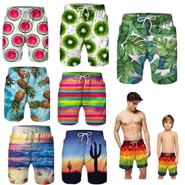 Отец и сын одежда для семьи соответствия пляжные шорты мальчики напечатаны 2 слоя шорты детская одежда мальчик летние каникулы дети пляжные штаны XZT078