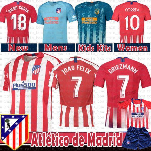 2019 Atlético GRIEZMANN Madrid Futebol KOKE SAUL GODIN TORRES CORREA Costa Luis GABI Gimenez THOMAS Crianças Kits Mulheres homens camisa de futebol