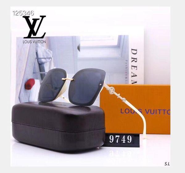 Gafas-де-золь Роскошные солнцезащитные очки для мужчин Мода УФ-защиты объектива площади Full Frame цвета золота гальваническим рамки первоначально коробка