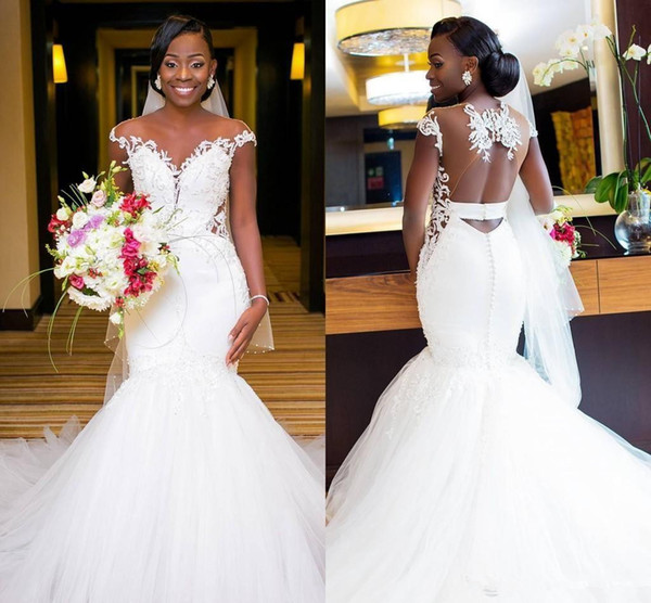 sheer neck capped sleeves lace mermaid wedding dresses gorgeous appliqued tulle hollow back african church wedding bridal gowns
