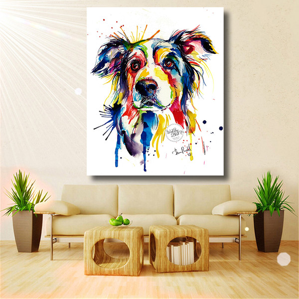 1 Pcs Home Printed Modern Colorful Dog Decorative Lovely Animal Picture Oil Painting On Canvas Wall Art For Living Room