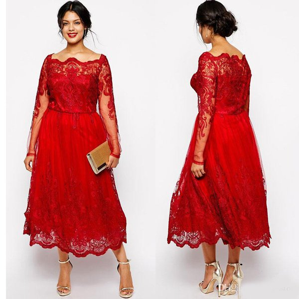 Vintage Mother off bride dresses 2019 Bateau Neck Lace Appliques Long Sleeves Red Plus Size Mother Of the Bride Gowns Wedding Guest Dress