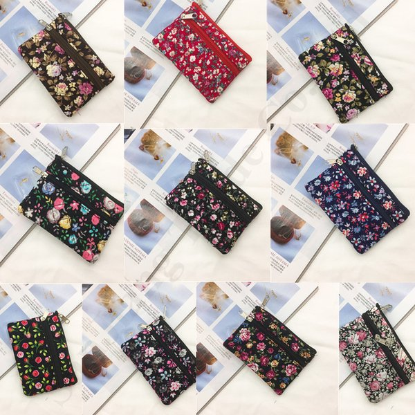 2019 Floral Printing Children Mini Wallet Purse Double Zip Pouch Women Girls Coin Purse Handbag Tote Key Card Holder Christmas Gifts C103003
