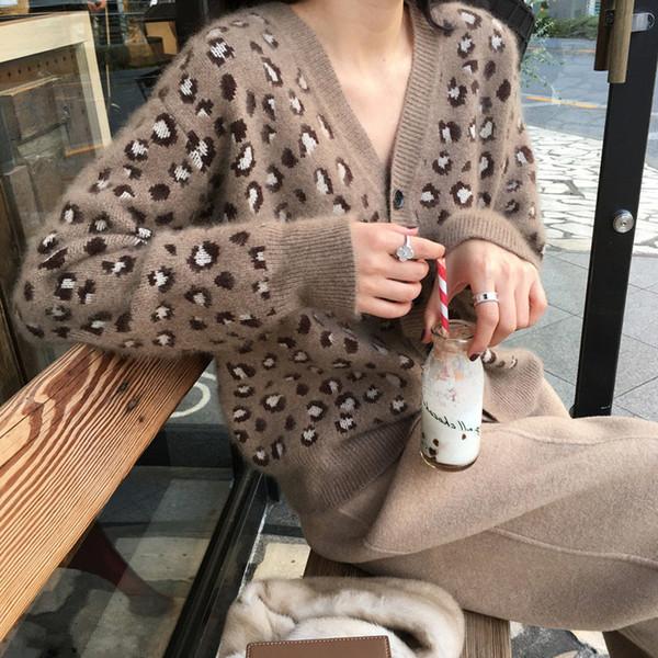 Kadın V Yaka Leopar Hırka Kazak Rahat Uzun Kollu Kazak Moda Örgü Tek Göğüslü Ceket