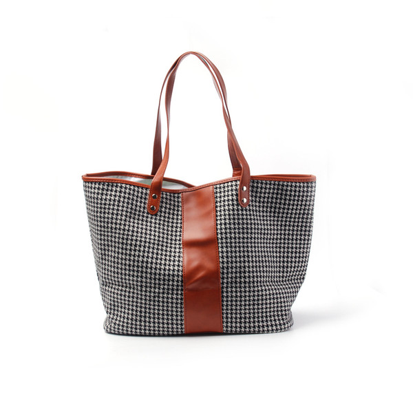 Sanded Fabric Plaid Tote Bag with PU Faux Leather Handles Houndstooth And Fishbone PU Purse DOM106405