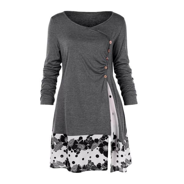 Herbst Frauen Kleid Mujer Womens Plus Size Button drapiert Floral Spleißen lange Tunika Kleid Tops Damen Kleider Designer-Kleidung