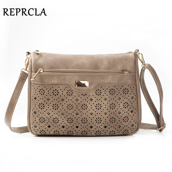 REPRCLA New Double Zipper Women Messenger Bags Hollow PU Leather Shoulder Bag Female Crossbody Vintage Women Bags Purse #48886