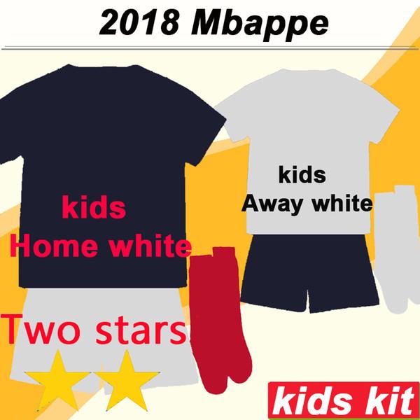 2018 2 Sterne MBAPPE GRIEZMANN Kinder Kit Heimtrikot Fußballtrikots POGBA GIROUD DEMBELE KANTE Kinder Fußballshirts Socken Maillots de foot