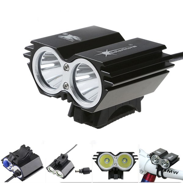 Clearance Sale Black Bike Light 5000Lm 2x CREE XM-L T6 LED Head Front Bicycle Lamp Waterproof 3 Lighting Model Stock in USA