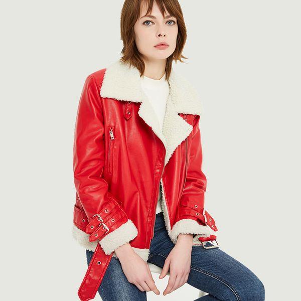 2019 New Autumn Winter Warm Leahter Jackets Women Vintage Faux Lamb Wool Lining Casual Street Biker Moto Coats Ladies Outerwear