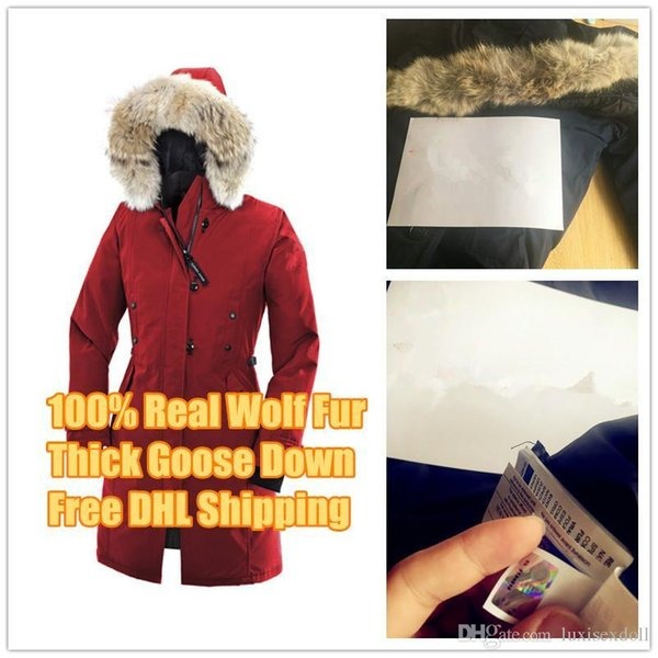 best selling Top quality Winter Down Parkas Hoody Canada Kensington real Wolf Fur Womens Jackets Zippers Designer Jacket Warm Coat Outdoor Parka