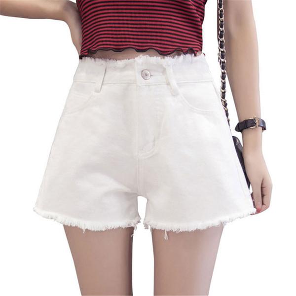 Damenjeans 2019 Neue Damen Hohe Taille Denim Shorts Sommer Koreanische Version von Thin Wide Legs lose schwarze Shorts Größe 25-32