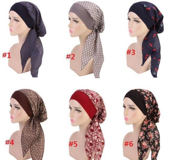 6 cores Novas Mulheres Elegante rei Flor Elástica Malha Turbante Chemo Cap Cabeça Envoltório Cabeça Lenço Muçulmano Beanie para Perda de Cabelo chapéu