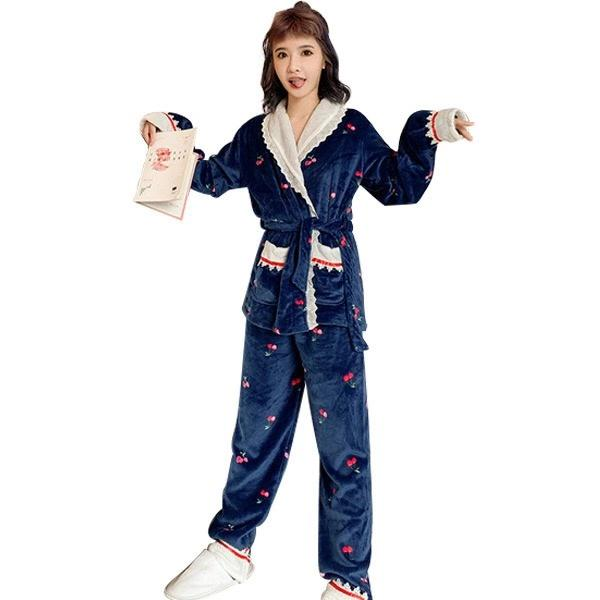 W50-Pajama women's winter flannel lovely thickened large home clothes